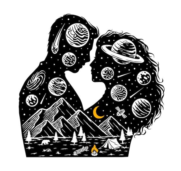 Romantic in the universe illustration Premium Vector