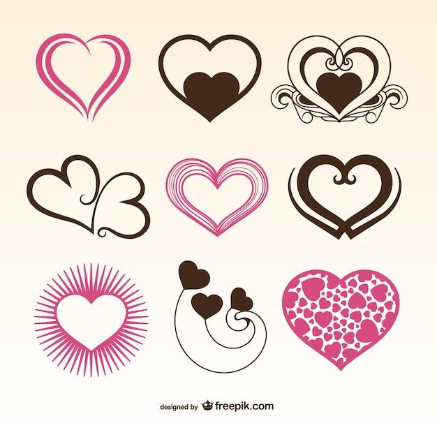 Romantic Valentine hearts Free Vector