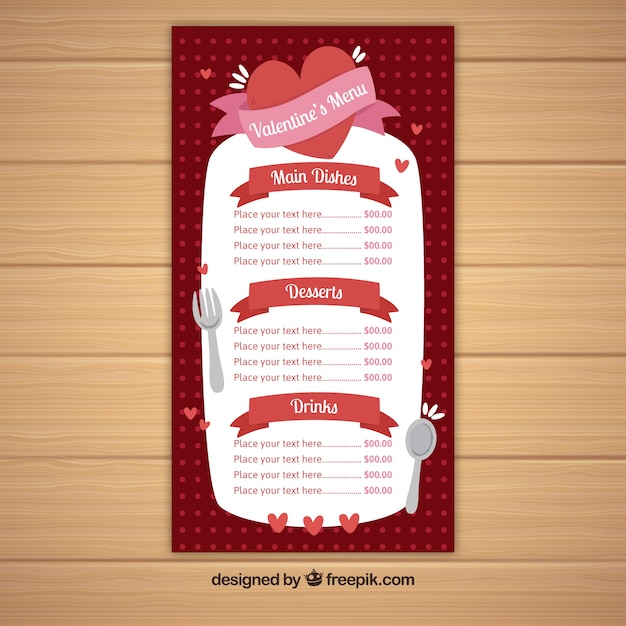 romantic valentine menu template vector free download