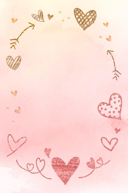 Romantic valentine's day frame in watercolor Free Vector