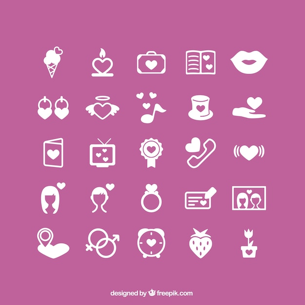 Romantic valentine's icons Free Vector