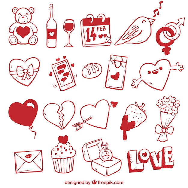 Romantic valentines day elements in doodle style Free Vector