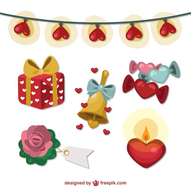 Romantic valentines day elements