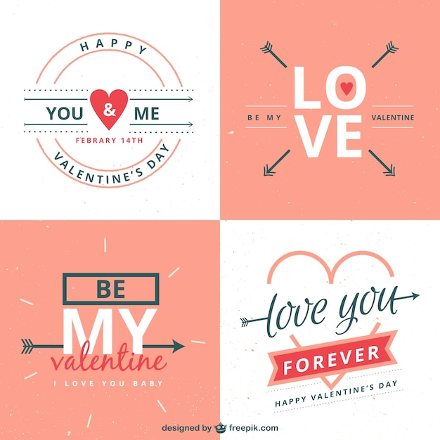Romantic valentines day labels pack Free Vector