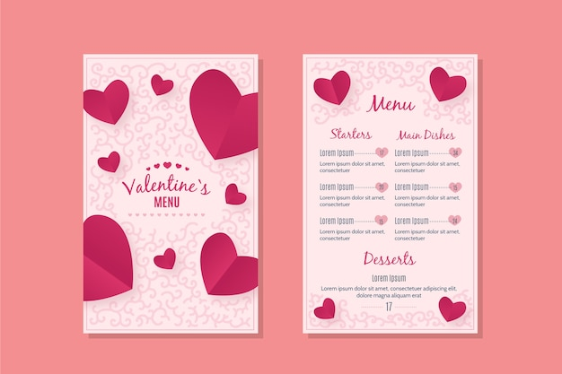 Romantic valentines day menu template Free Vector