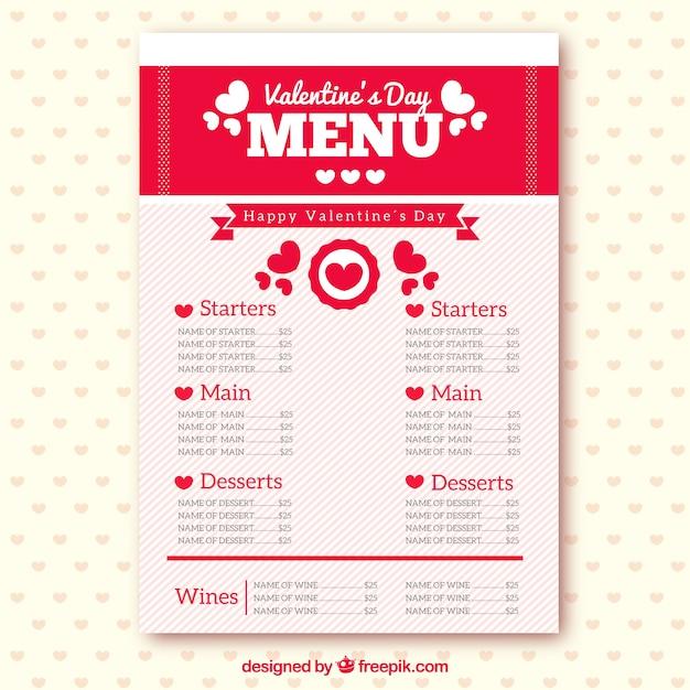 Romantic Valentines Day Menu Premium Vector