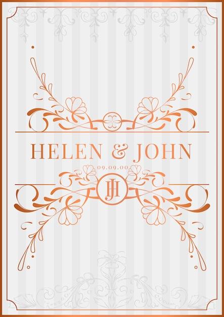 Romantic Vintage Art Nouveau Wedding Invitation Card Mockup