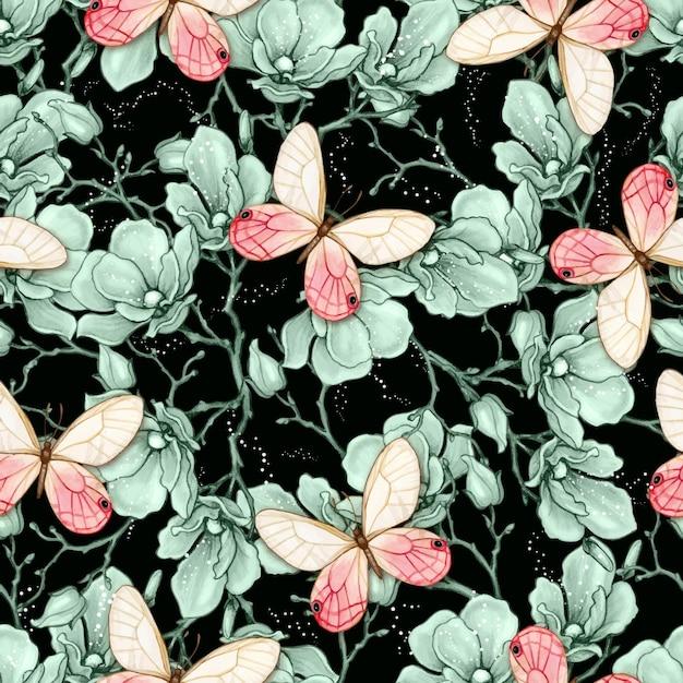 로맨틱 빈티지 목련과 나비 원활한 패턴 프리미엄 벡터