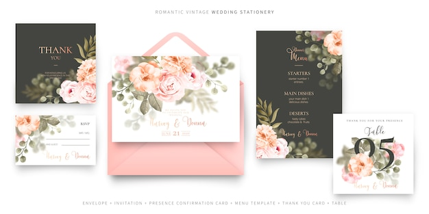 Romantic vintage wedding stationery Free Vector