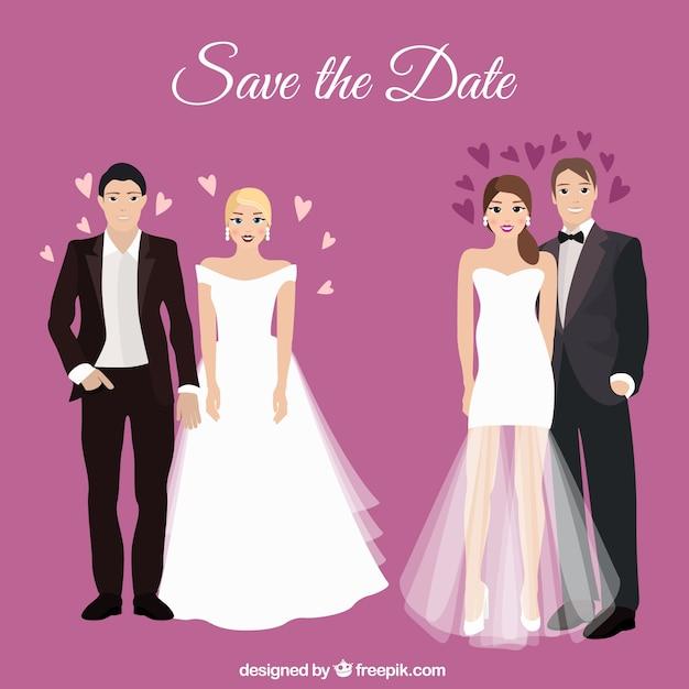 Romantic wedding couples Free Vector