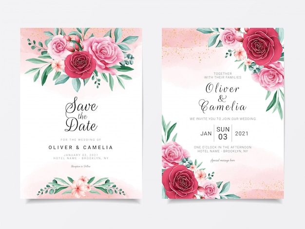 Romantic wedding invitation card template set with burgundy and peach watercolor flowers Premium Vector