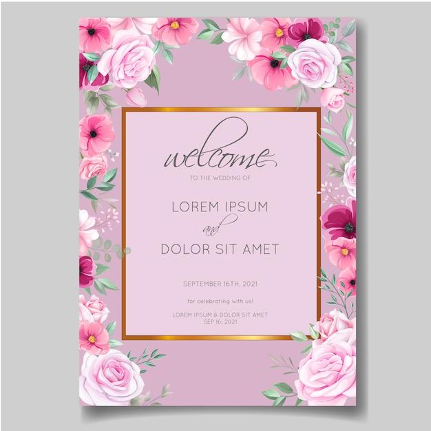 romantic wedding invitation card template set with rose