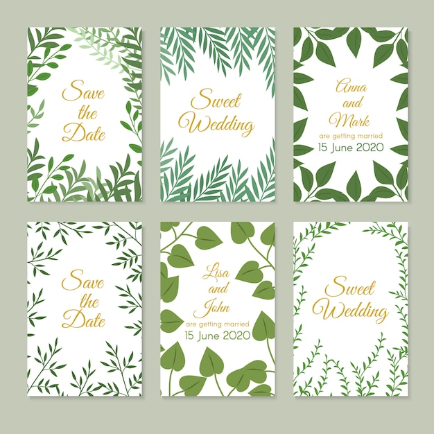Romantic wedding invitation cards with green garden decoration, leaves and branches. spring floral art vector set Premium Vector