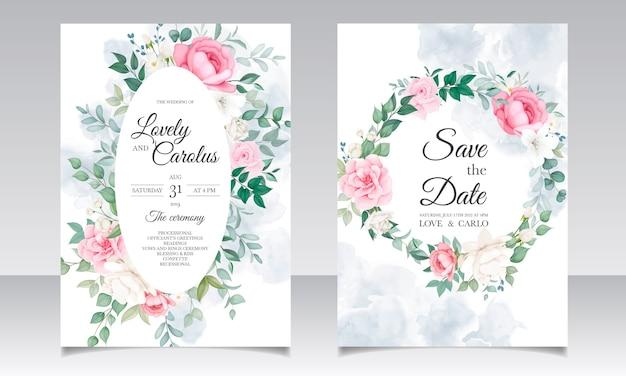 Modello di carta floreale invito matrimonio romantico Vettore gratuito