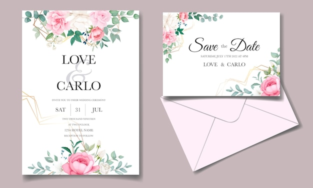 ロマンチックな結婚式の招待状花カードテンプレート 無料ベクター