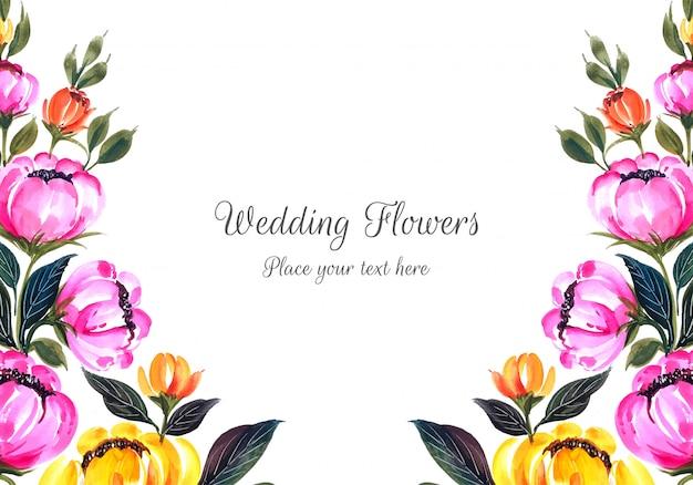 Romantic wedding invitation flowers frame card Free Vector