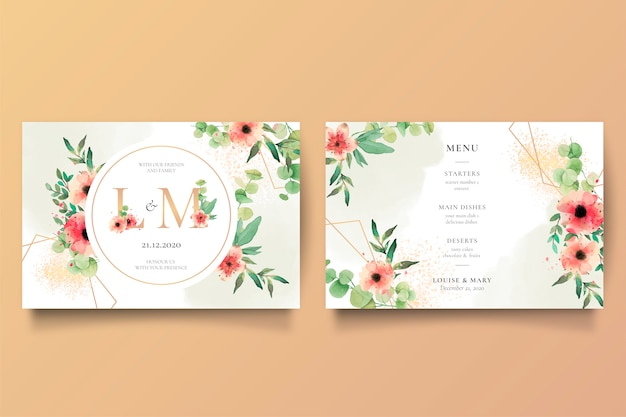 Romantic wedding invitation and menu template Free Vector