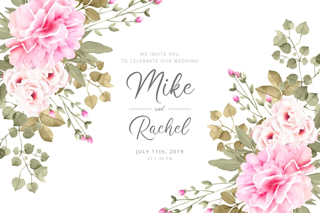 Romantic wedding invitation template Free Vector