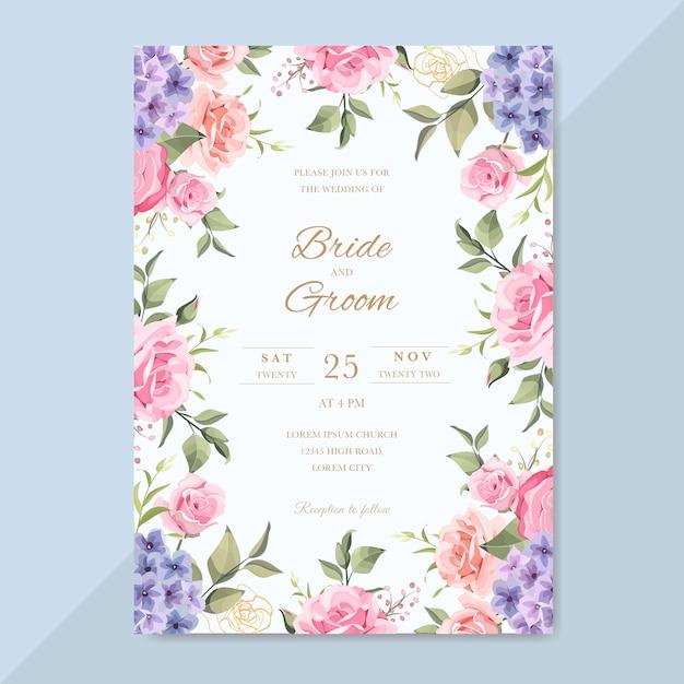 美しい花とロマンチックな結婚式の招待状 Premiumベクター