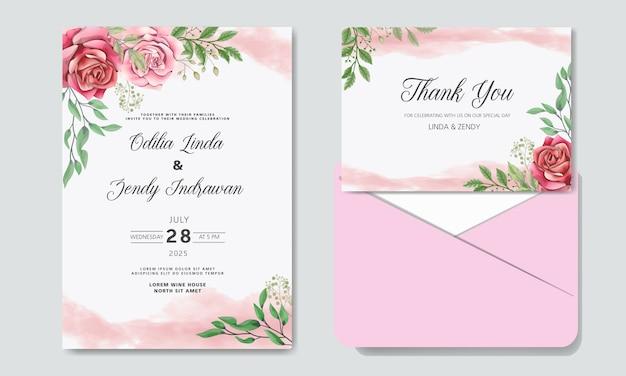 Romantic wedding invitation with beautiful flowers with envelope Premium Vector