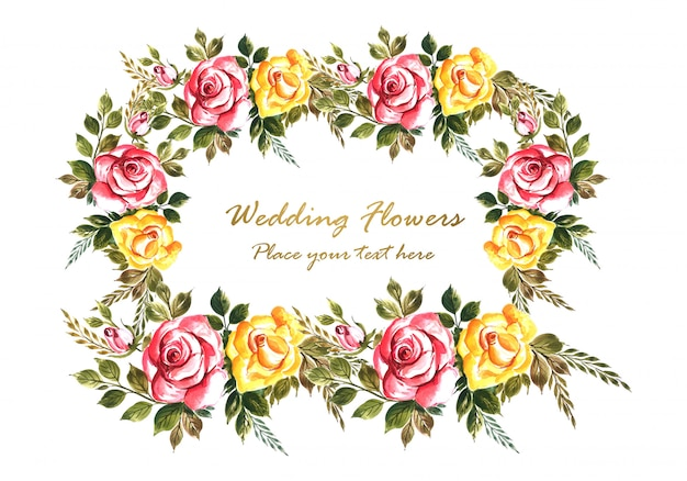 Romantic wedding invitation with colorful flowers card template Free Vector