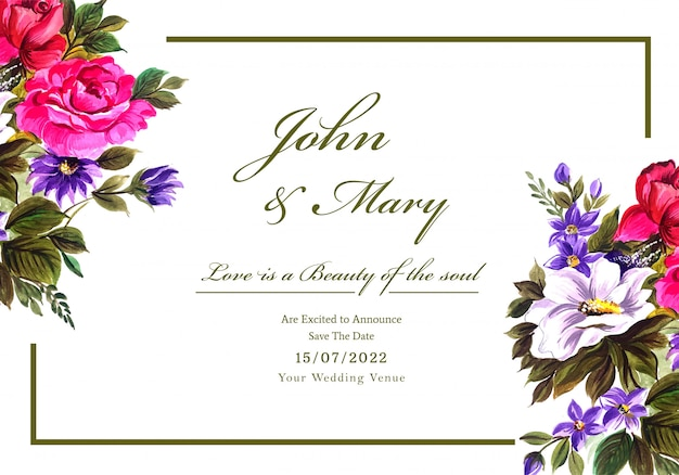 Romantic wedding invitation with colorful flowers card Free Vector
