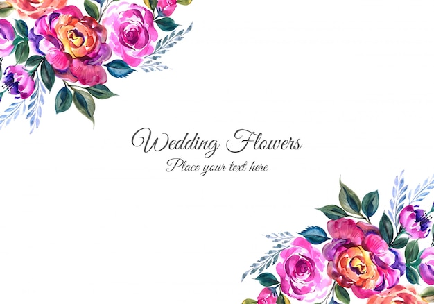 Romantic wedding invitation with colorful flowers Free Vector