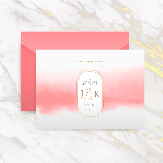 Romantic wedding invitation with envelope vector Free Vector