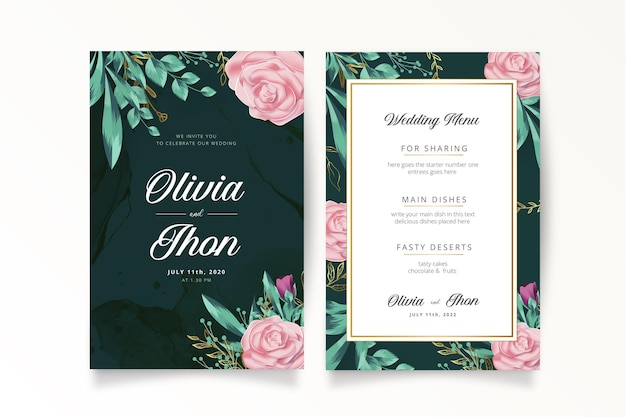 Romantic wedding invitation with realistic flowers template Free Vector
