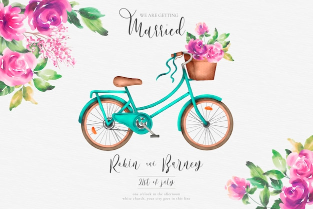 Romantic wedding invitation with watercolor bicycle and flowers Free Vector