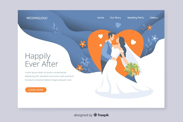 Romantic wedding landing page invitation Free Vector