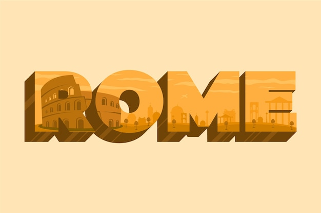 Rome city lettering Free Vector