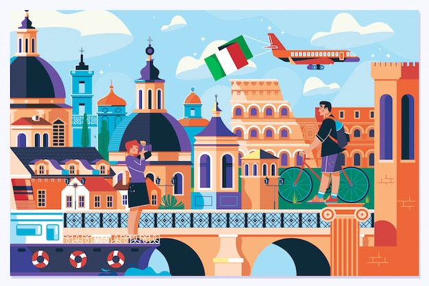 Рим европа путешествия лето туризм праздник отпуск фон Premium векторы