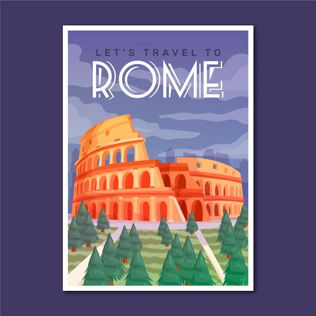 Плакат о путешествии в рим Бесплатные векторы