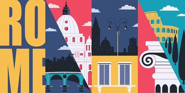 Rome illustration with landmarks and skyline Premium Vector