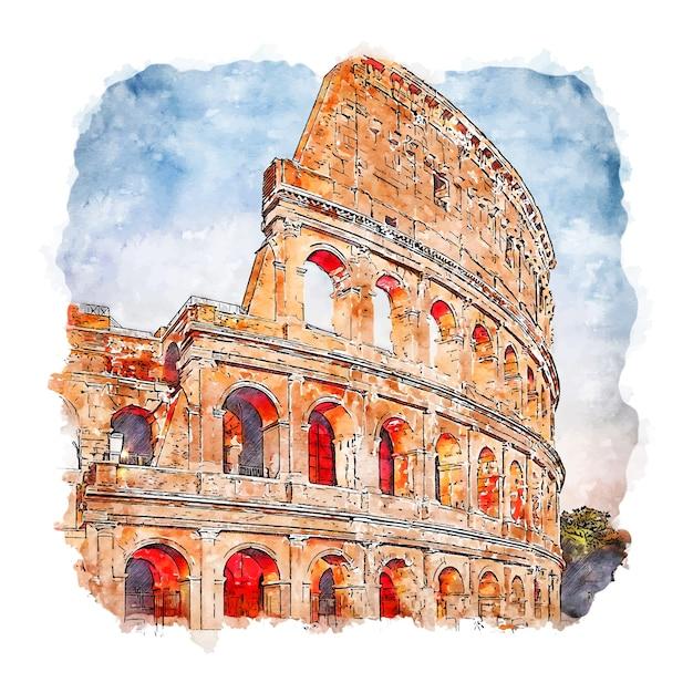 Рим италия акварельный эскиз рисованной иллюстрации Premium векторы
