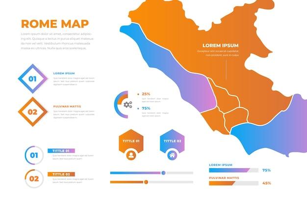 Stile gradiente di roma mappa infografica Vettore gratuito