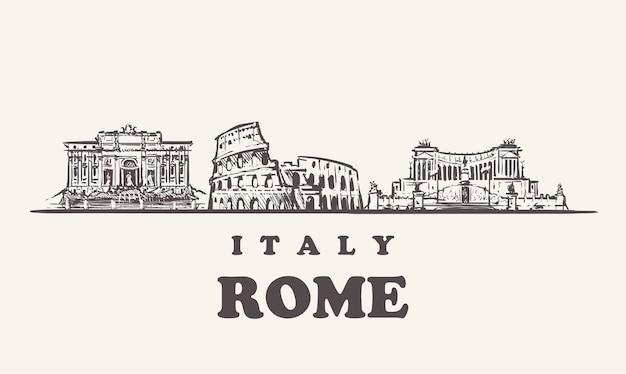 Горизонт рима, италия старинные иллюстрации, рисованной здания рима на белом фоне. Premium векторы