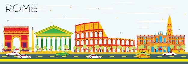 Рим skyline с цвет зданий и голубое небо. векторные иллюстрации Premium векторы