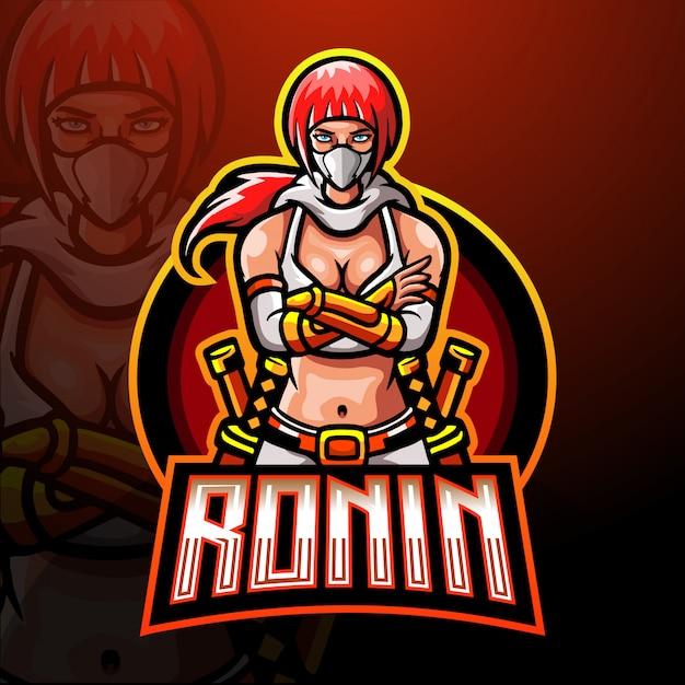 Ronin esportマスコットのロゴのテンプレート Premiumベクター