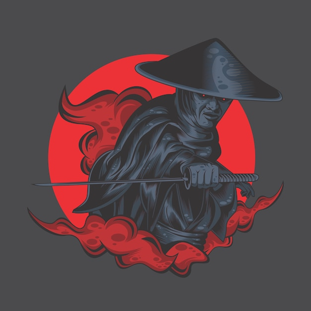 Ronin from the land of darkness Premium Vector