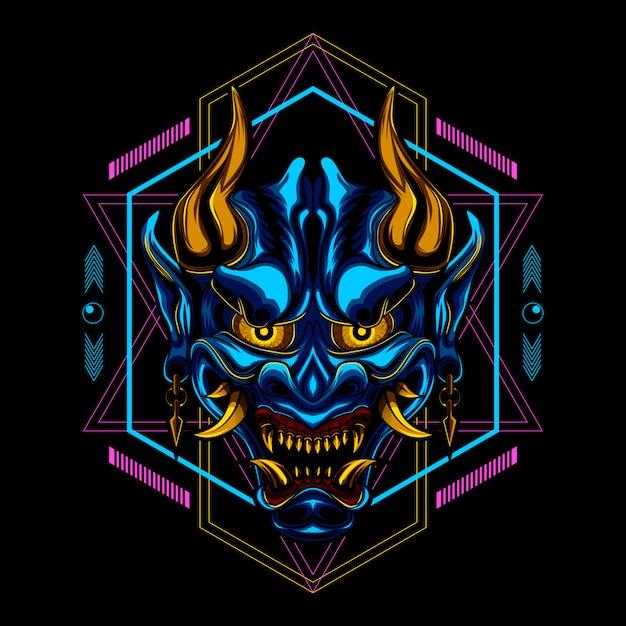 Ronin samurai mask devil Premium Vector