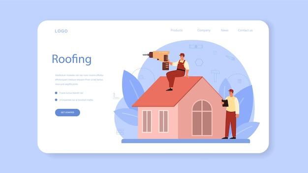 Веб-баннер или целевая страница рабочего-строителя крыши. ремонт зданий и ремонт домов. Premium векторы