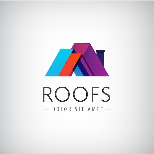 灰色で隔離の建物のロゴの屋根 Premiumベクター