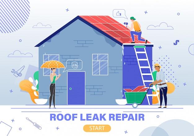 Roof leaking repair service flat   website Premium Vector
