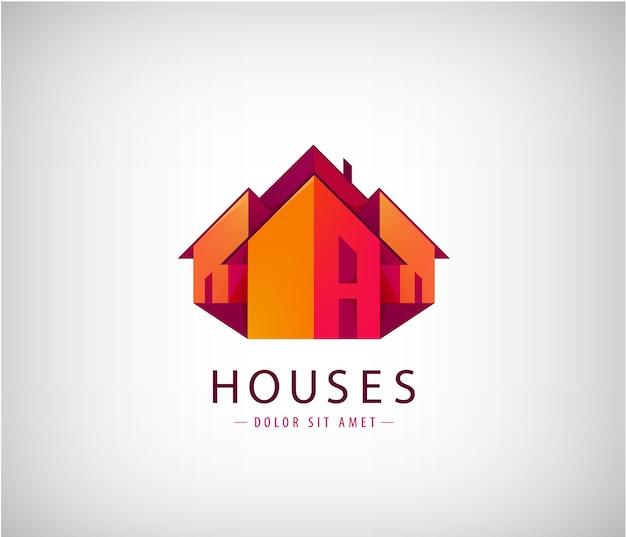 屋根のロゴ、住宅、不動産。 Premiumベクター