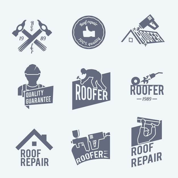 Roof Repair Logo Templates Collection Free Vector