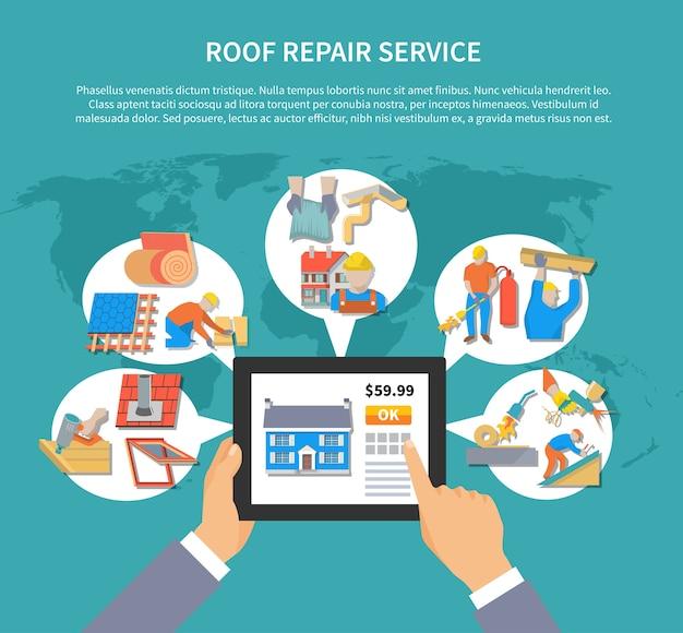 Modello di sfondo del servizio di riparazione del tetto Vettore gratuito