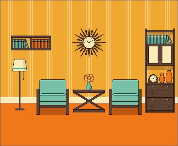 Room In Flat Retro Living Room Interior S In Line Art Graphics