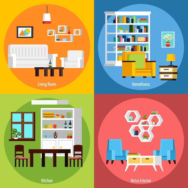 Room interior background compositions Free Vector